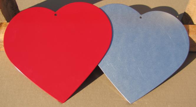 Herz aus 2,0 mm verzinktem Stahlblech Herz blank