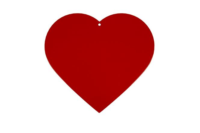 Herz aus 2,0 mm verzinktem Stahlblech pulverbeschichtet Herz pulverbeschichtet rot